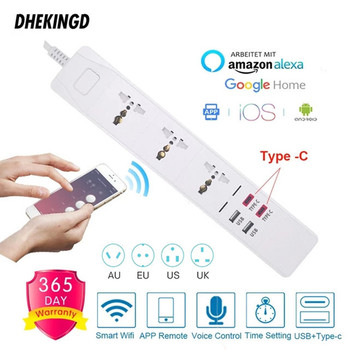 Wifi Smart Power Strip Universal 3 Outlets Socket 2 USB 2 Type-c 3.0A Quick Charge Voice Control for Alexa Google Assistant