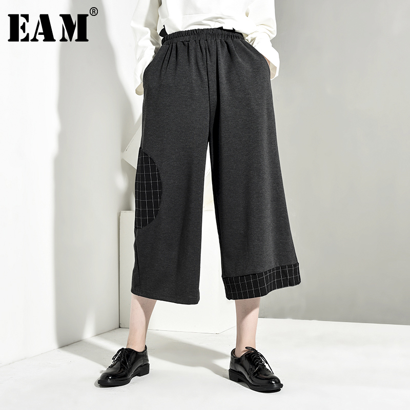 [EAM] 2019 Autumn Symmer Woman New Rerto High Quality Black Color Two Wear Methods Long Loose High Waist Flat Overralls LI420