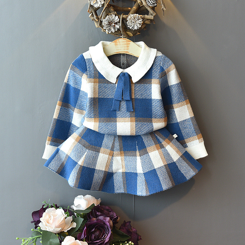 Baby Girls Winter Clothes Set Christmas Outfits Kids Girls Plaid Knit Sweater&skirt Fall Girl Clothing Set Children Costume 2