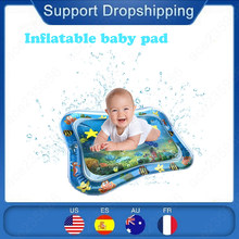 ROSEBEAR Tummy Time Baby Water Mat Infant Activity Center Inflatable Play Mat Toy with Floating Toys