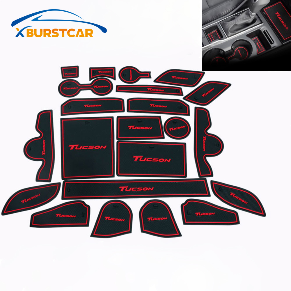 For Hyundai Tucson 2015 - 2019 Accessories3D Rubber Car Mat Car Anti Slip Mat Non-slip Mats Interior Door Pad Cup Mat