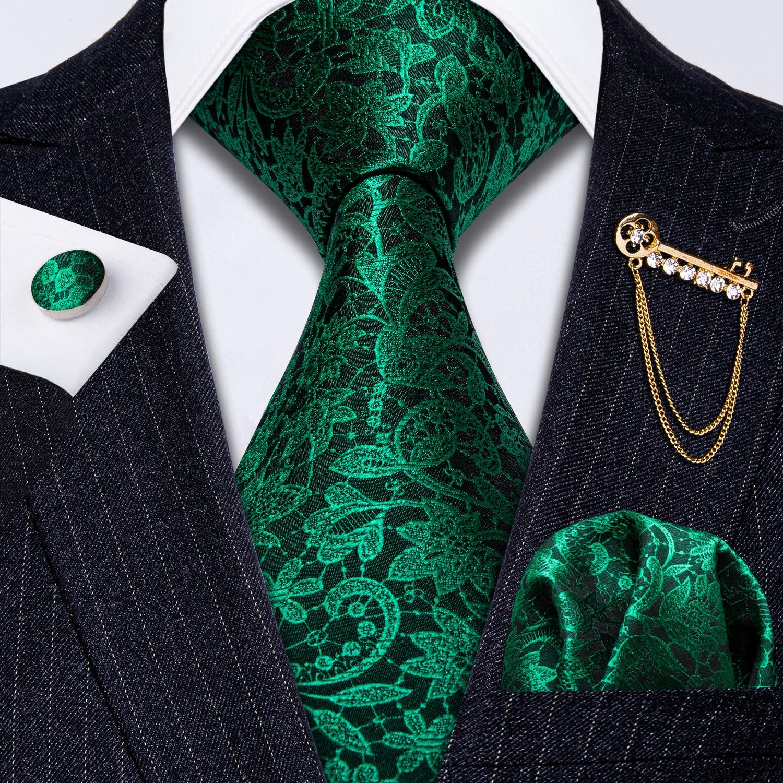 Barry.Wang Formal Ties,Paisley Flower Necktie Set with Handkerchief Cufflink Clip Gifts