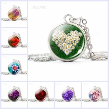 Beautiful Rose Sakura Button Necklace Simple Style Daisy Glass Cabochon Jewelry Fashion Pendant Charm Women Handcrafted Gift