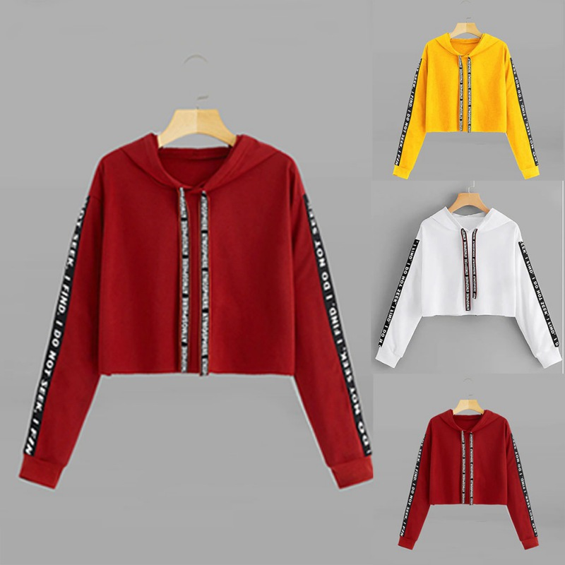 Women Hoodies Sweatshirt Autumn Crop Top Long Sleeve Sweatshirt Hoodie Letter Print Pullover Top Sweatshirts Female Hoodies