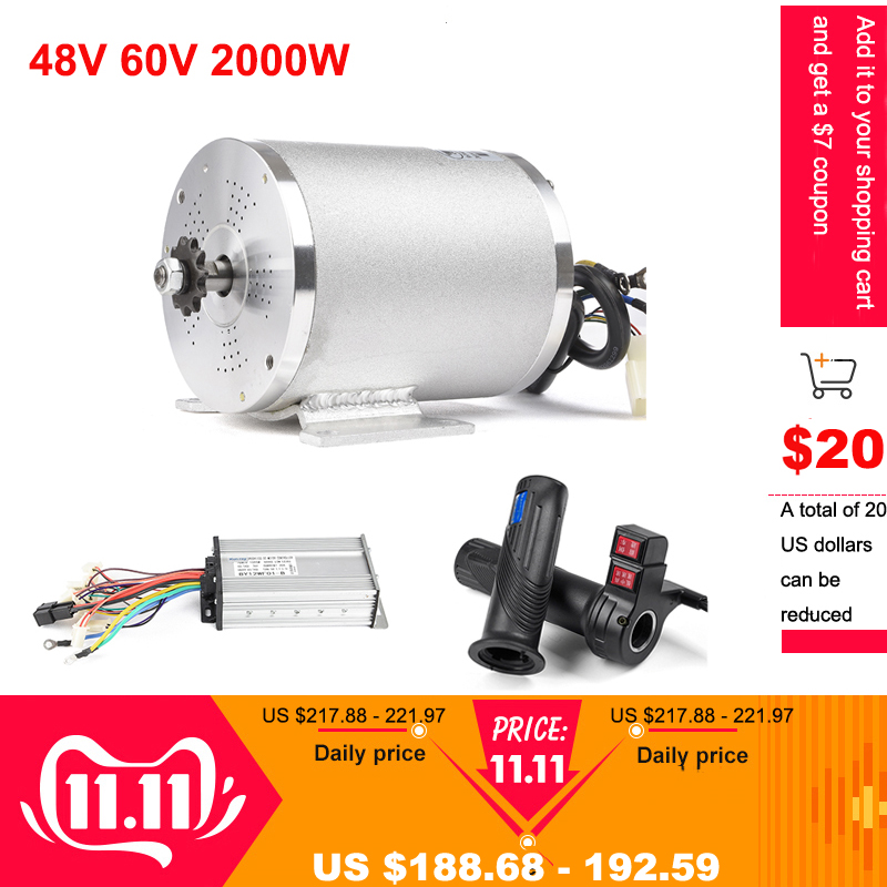 48V 60V 2000W BLDC Motor Electric Bike Brushless Motor For Electric Vehicle Speed Controller Reverse Twist Throttle E-scooter