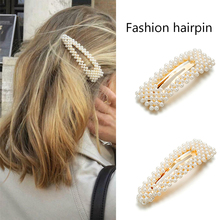 2019 New Fashion Pearl Hair Clip for Women Elegant Korean Design Snap Barrette Stick Hairpin Hair Styling Accessories ubuhle fashion women full pearl hair clip girls hair barrette hairpin hair elegant design sweet hair jewelry accessories 2019