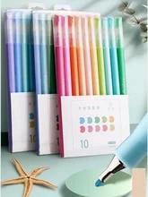 Conjunto de canetas de gel multicoloridas, conjunto com 10 peças de pontas de sal doce morandi, cores retrô, marcador de tinta de secagem rápida, desenho iluminador a6prendedor