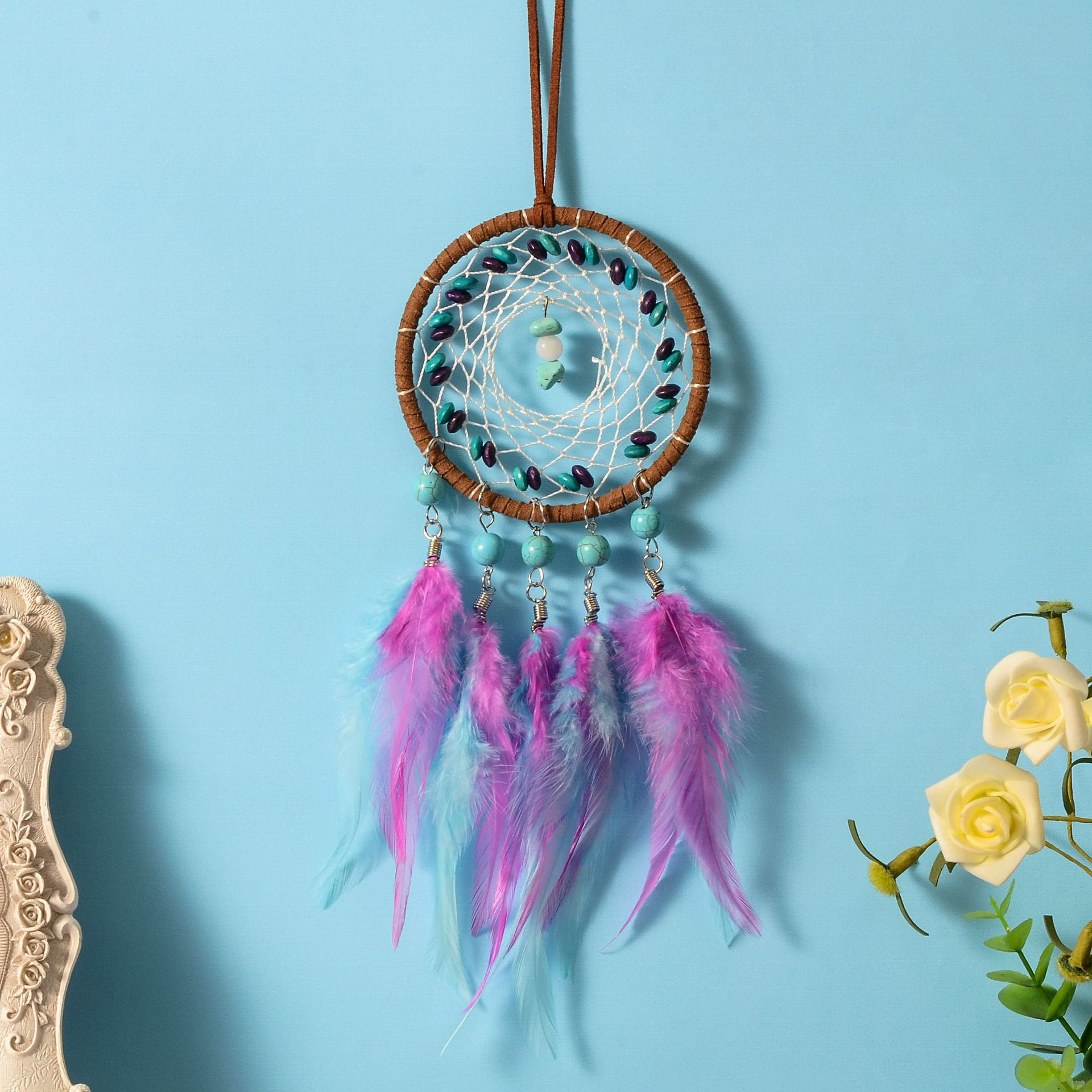 Turquoise Dream Catching Net Handicraft Pendant Graduation Gift Garden Decoration Room Decoration Accessories Dream Catcher