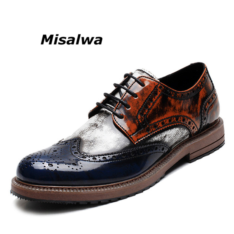 Misalwa Italy Men's Prince Classic Wingtip Dress Shoes Blue White Wedding Party Male Formal Oxford Brogue Shoes 2019 Drop Ship