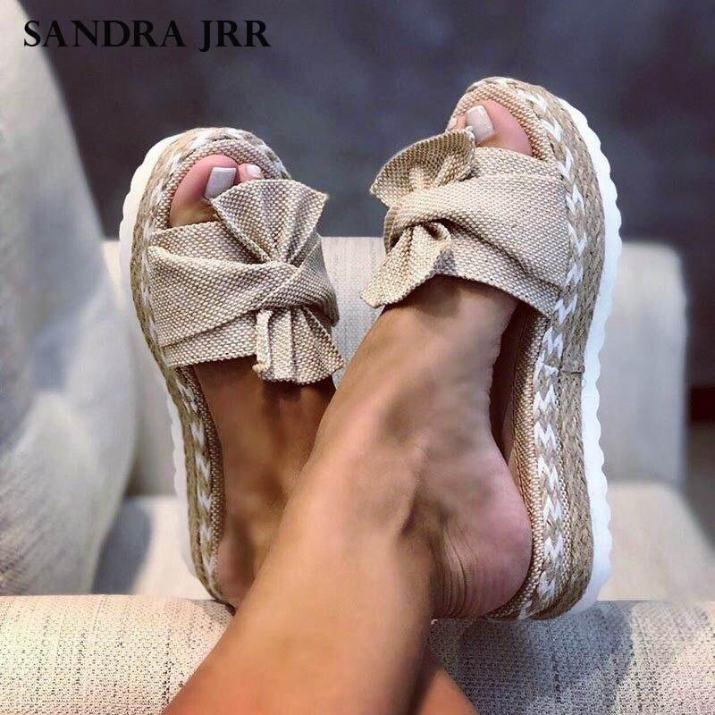 SANDRA JRR Women Flat Platform Slippers Open Toe Fashion Knots Braid Flat Heel Elevator Sandals Slip On Outside Slides Drags
