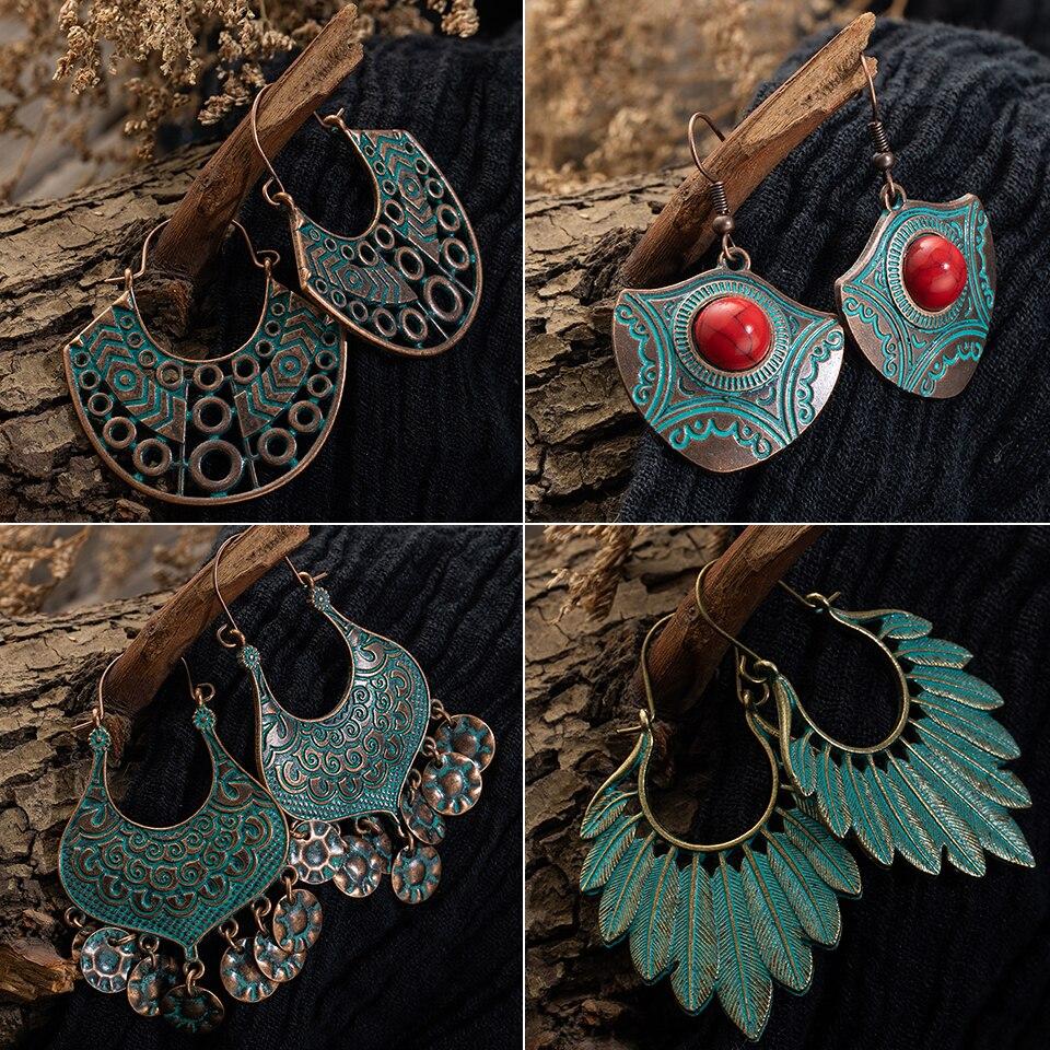 Brincos de moda para as mulheres 2019 statement vintage boho indiano antigo cobre balançar gota brincos pendurado jóias acessórios