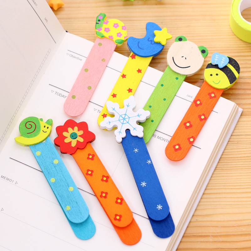 5pcs/lot Cute Animal Farm Wood Bookmark For Book Holder Multifunction Bookmark Stationery Children School Supplies Kawaii Gift