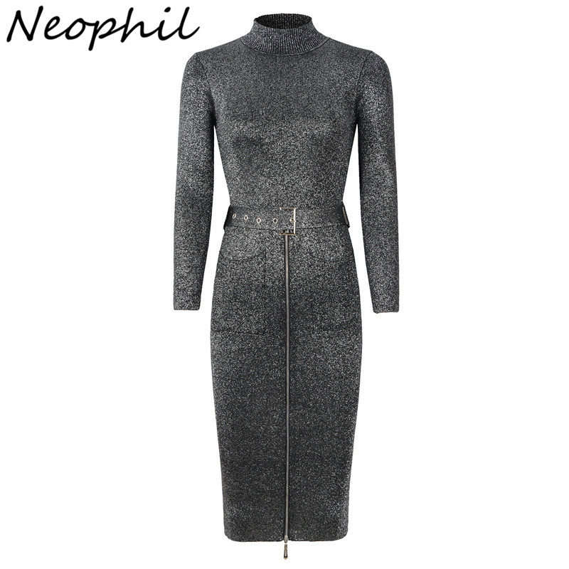 Neophil Vintage Zipper Sashes Knit Midi Women Dresses 2019 Winter Long Sleeve Sequined Turtleneck Elastic Fashion Dress D29A1