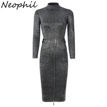 Neophil Vintage Zipper Sashes Knit Midi Women Dresses 2019 Winter Long Sleeve Sequined Turtleneck Elastic Fashion Dress D29A1