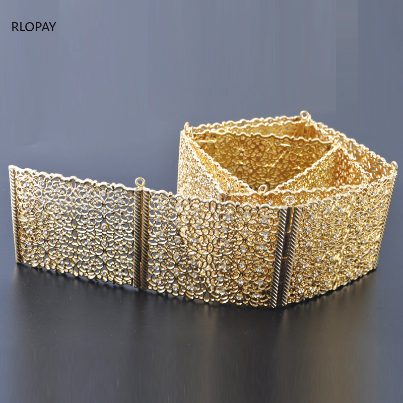 New Design Morocco Weddding Dress Belt Shining Crystal Wait Band In Gold And Silver Top Quality Arabic Jewelry