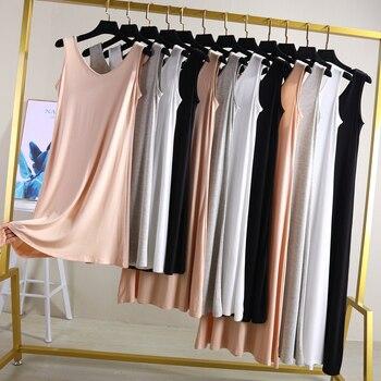 2021 Women's summer fashion cheap Modal Full Slip Dress Spaghetti strap Vest 80 to 120cm Long Under dress Ladies Casual Dresses 1