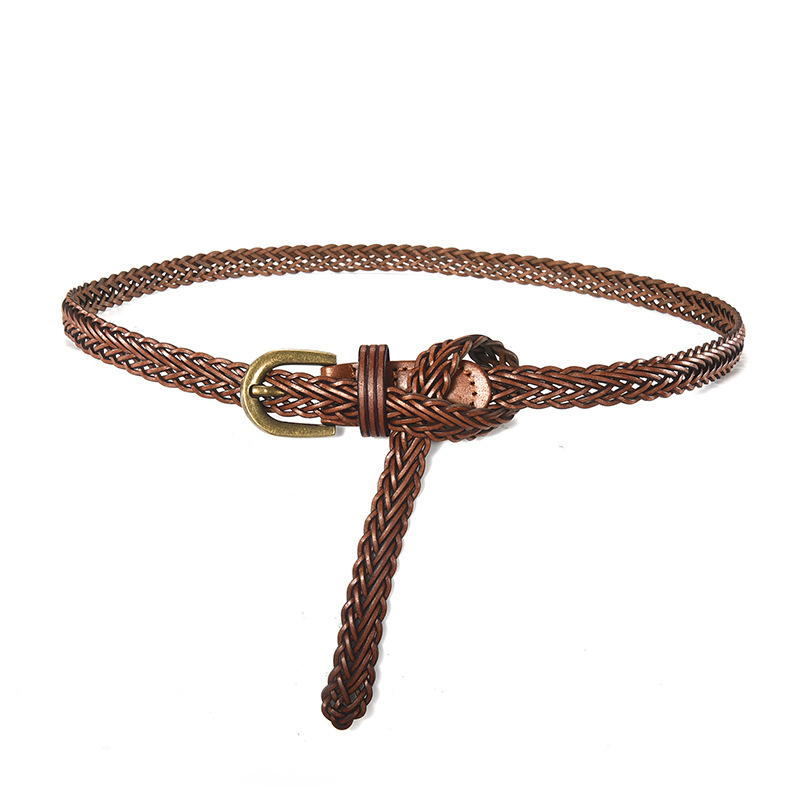 New Women 39 s Braided Belt Fashion Elegant Luxury Strap Designer Pin Buckle Women Belt Weave Leather Waistband Dress Jeans Belt in Women 39 s Belts from Apparel Accessories