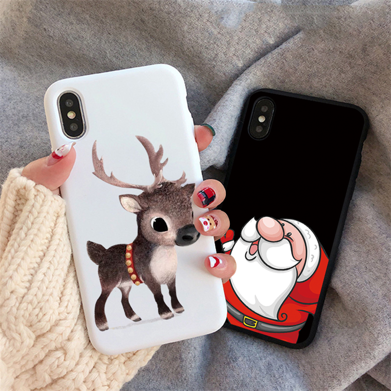 Cute Christmas Deer Matte Case For <font><b>Samsung</b></font> Galaxy A7 A8 <font><b>A9</b></font> J4 J6 J8 A6 Plus 2018 J3 J5 J7 J2 Prime A3 A5 A7 2017 <font><b>2016</b></font> TPU Cover image