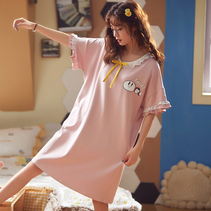 Large Size Nightgown Short Sleeve Summer Thin Section Pure Cotton Fat Mm 200 Pajamas Less Women's Cartoon Cute Princess Style 5X