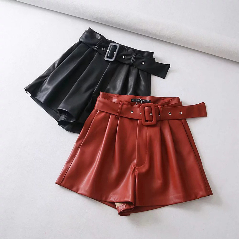 Women Black Orange Color PU Leather High Waist With Belt Wide Leg Faux Leather Solid   Shorts   High Quality Winter Loose PU   Shorts