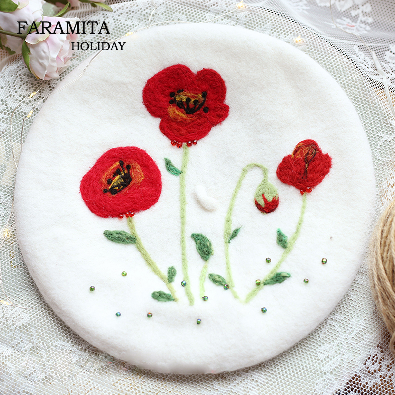 Faramita Holiday Poppy Flower Women Vintage Girls Kids French Berets Handmade Manual Wool Felt Painter Hats Beauty Headwear Caps 1