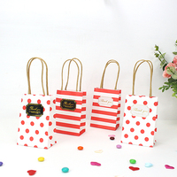Red Christmas Small Gift Bag with Handles 50pc Baby Shower Souvenirs Gift Box Packaging Birthday Party Decorations Kids 12x8x5cm
