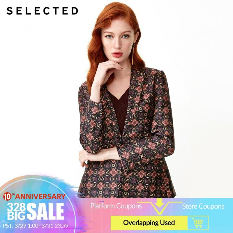 SELECTED Women's Spring Loose Fit Tiled Business Casual Print Blazer Jacket S|419172515