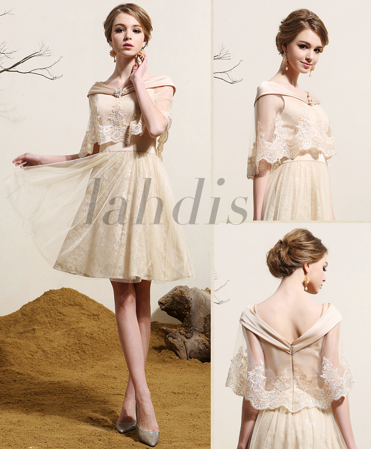 Knee-Length Cap Sleeve Short Prom Party Gown Cape 2018 Sexy Lace Appliques Crystal Vestidos Robe De Soiree Bridesmaid Dresses