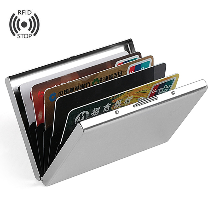 Fashion Aluminum Antimagnetic Card Holder Women Men Metal Cowhide Rfid Credit Card Business Card Holders Organizer Purse Wallet