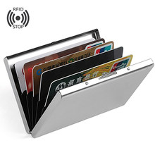 Fashion Aluminium Antimagnetic Kaarthouder Vrouwen Mannen Metalen Koeienhuid Rfid Credit Card Business Card Houders Organisator Portemonnee Portemonnee(China)