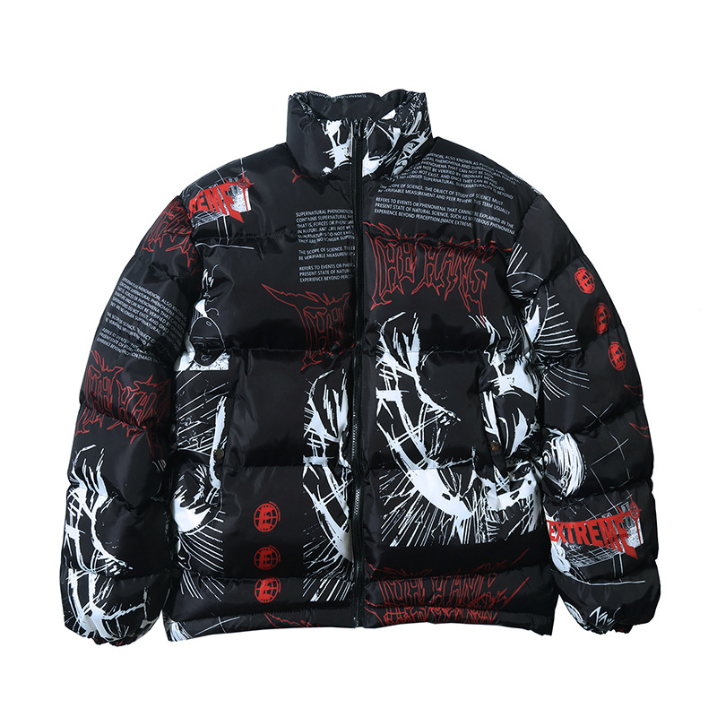 Men Windbreaker Harajuku Winter Padded Jacket Coat Warm Outwear Hip Hop Jacket Parka Japanese Cartoon Graffiti Streetwear