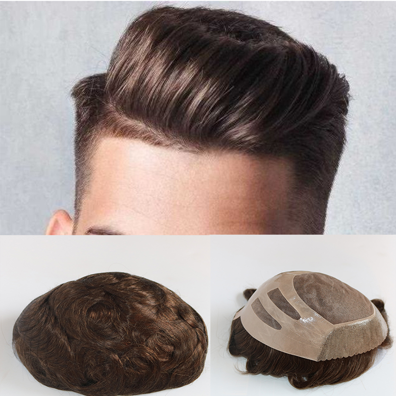 Durable Human Hair Men Toupee Mono Lace With Npu Around Lace Systems Size 8x10  Inch 6 Inch Hair Length