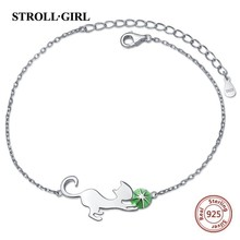 StrollGirl New arrival 100% 925 Sterling Silver Lovely Cat Link Chain Bracelets & Bangles for Women Authentic Jewelry
