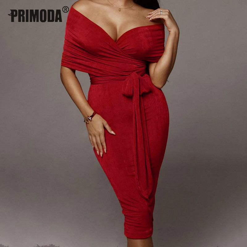 2019 Women's Sets Autumn Evening Party Elegant Bandage Sets Red Crop Tops Midi Skirts Suits Two Pieces Sexy Women Outfits PR100G