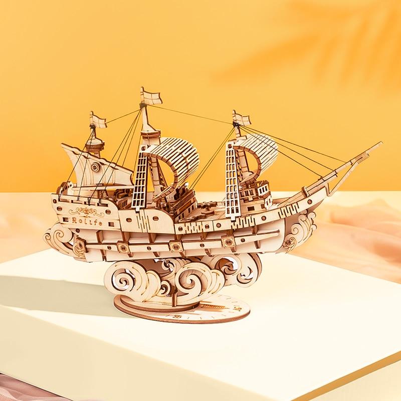 Robotime 3D Wooden Puzzle Games Boat & Ship Model Toys For Children Kids Girls Birthday