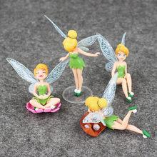 4 pçs/set 3-10cm princesa tinkerbell sininho bonito fada elfos flor elfos pvc figura de ação mini modelo brinquedos bonecas
