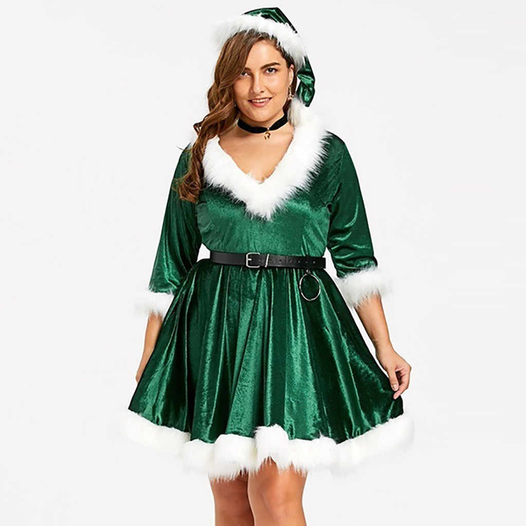 dropshipping and wholesale Women Christmas Solid V-neck Long Sleeve Velvet Terry Mini Dress+Belt+Hat Plus Size