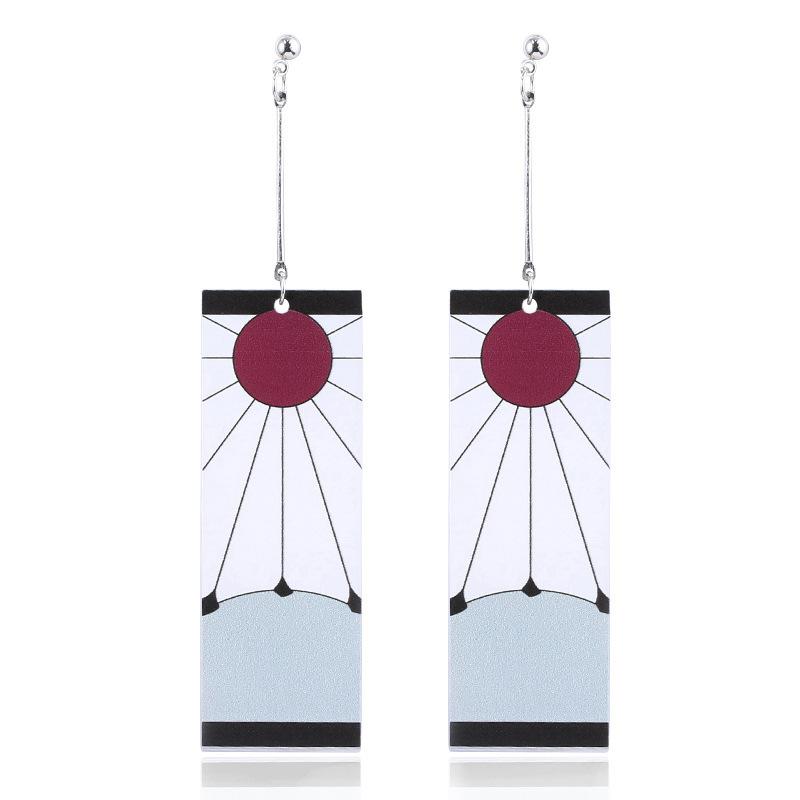 Japanese Anime Demon Slayer Wholesale Cosplay Prop Kimetsu No Yaiba Tanjirou Kamado 1 Pair Earrings Cosplay Accessores