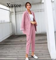 Striped Sleeve Double Breasted Women Pant Suits Notched Blazer & High Waist Pant Solid OL Style Female 2 Pieces Set 2020
