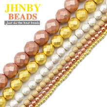 JHNBY Faceted Round Hematite Matte Rose Gold Silvers Natural