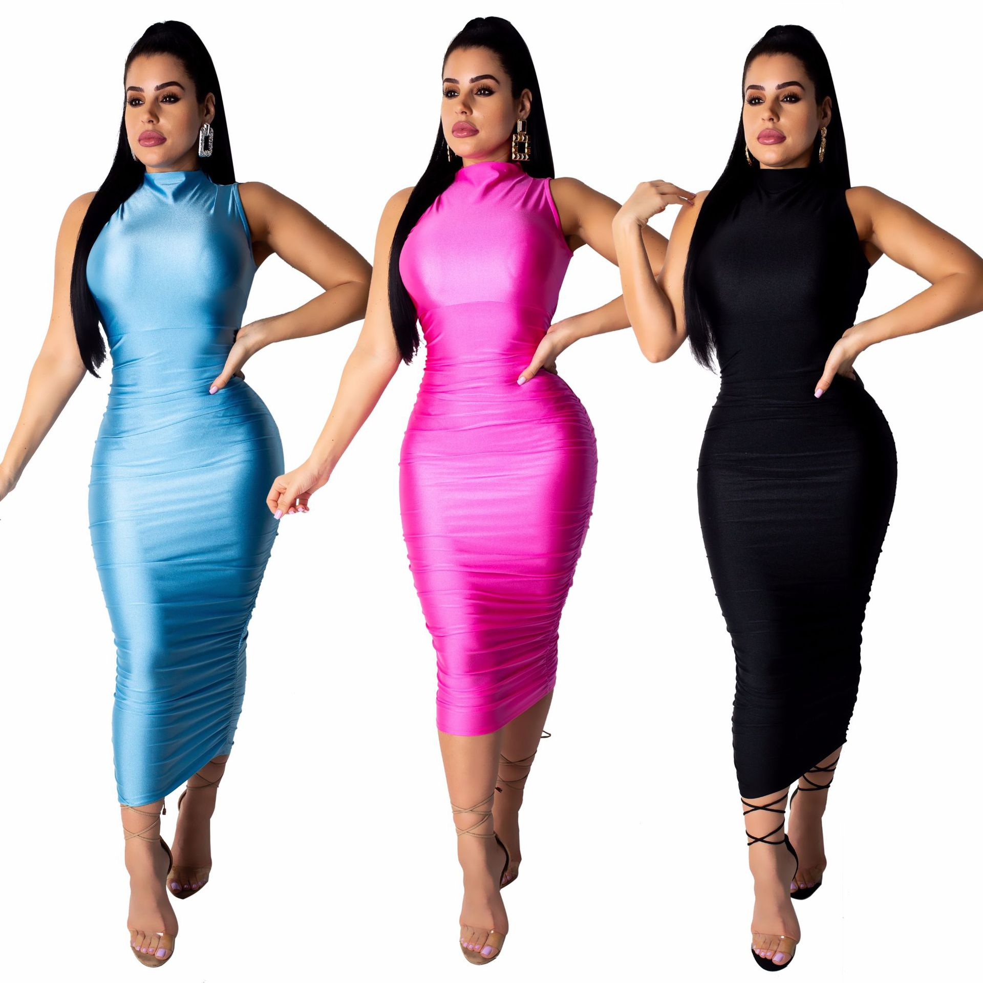 XM6067  Supply Of Goods  Hot Selling WOMEN'S Dress Sexy Nightclub Smooth Reflective Sleeveless Dress
