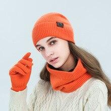 Gloves-Set Scarf Hat Women Autumn Winter Green Dark-Blue Pink Black Orange Imitation-Angora