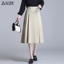 Women Solid Tiered A-Line Skirts Spring Summer Korea Style Half Elastic Waist Female Nylon Cotton Pocket Mid-Long Skirt