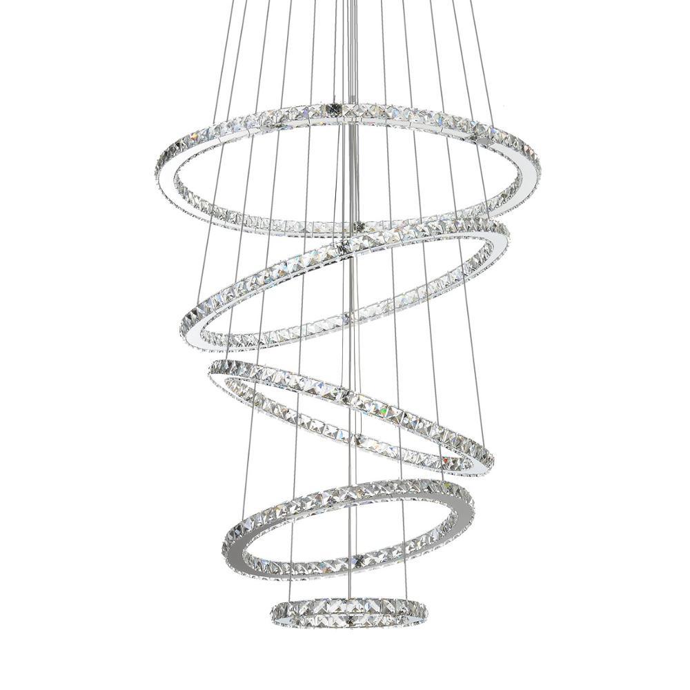 MEEROSEE LED Lampadario di Cristallo di Luce Moderna Lampada Da Soffitto Apparecchio a Sospensione Lustres 5 Anelli di Illuminazione Della Decorazione Della Casa