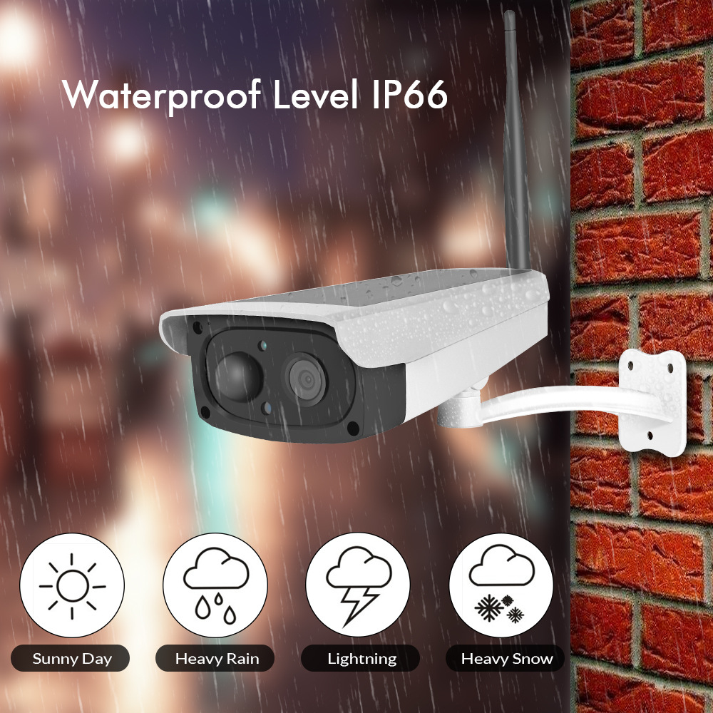 Solar camera  security camera solar  1080p wifi camera built-in rechargeablebattery Support up to 64G SD Card waterproof