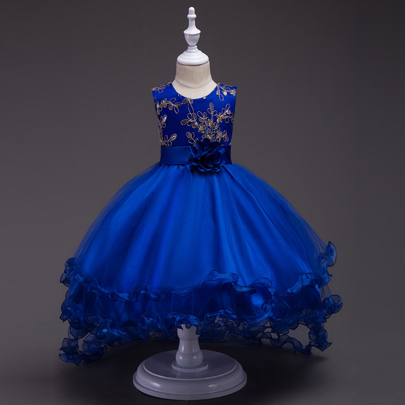 Europe And America Children Shirt Embroidery CHILDREN'S Dress Princess Dress Tailing Dress Girls Wedding Dress