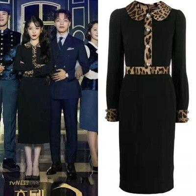 Vestido negro con cuello de muñeca estampada de leopardo para mujer DEL LUNA Hotel mismo IU Lee Ji Eun en otoño temperamento vestido para wamán
