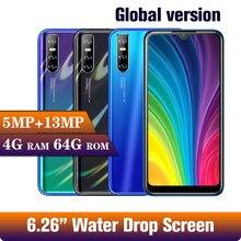 M30s 6,26 zoll 4GB RAM 64GB ROM Gesicht ID entsperrt Quad core smartphone wifi Wasser tropfen bildschirm Android handys 13MP celulares