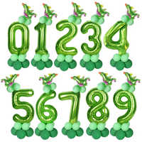 1set 40inch Dinosaur Party Big Number Foil Balloons Jungle Party Helium Balloon Birthday Boy Baby Shower Globos Decorations