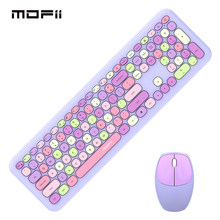 Mofii Purple Wireless Keyboard Mouse Set USB Office Gaming Keyboard And Mouse Pink Combo Mix Keycaps For Mac Laptop Desktop PC